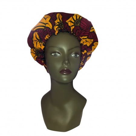 Bonnet Wax & Satin Red and yellow hibiscus @By Georges Décimus