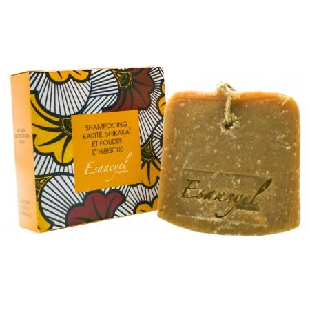 shampoing solide , saponifie a froid, a base de karite de poudre d hibiscus et de shikakai