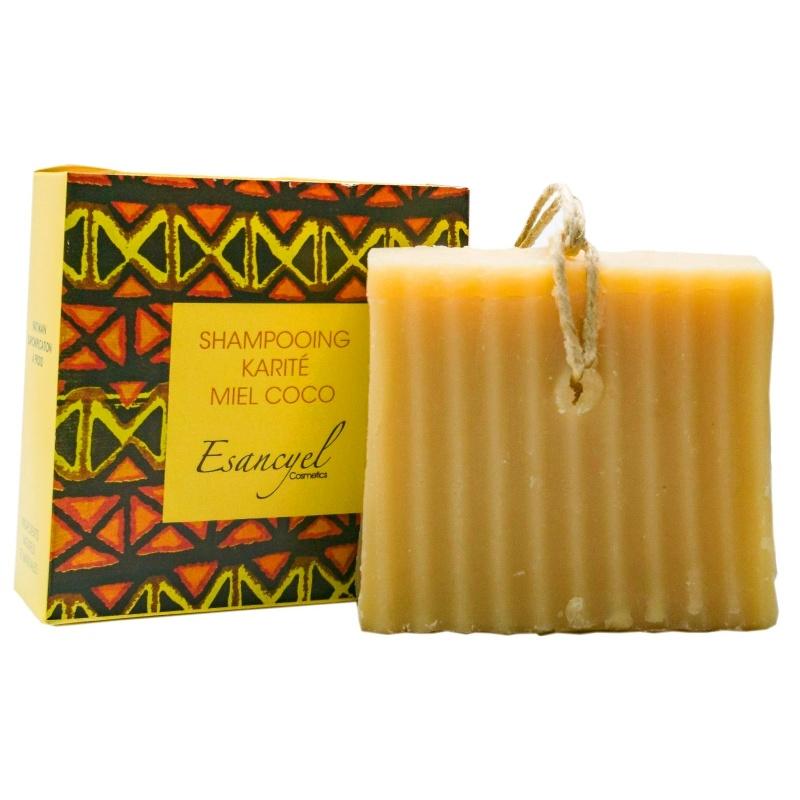 Shampoing  solide Karité Coco 120 grs, saponifié à froid, à base d huile et de lait de coco, fabriqué en France à Masreille