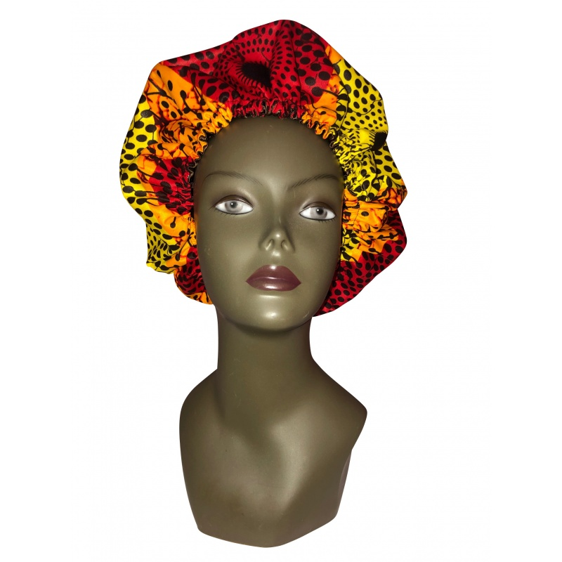 Bonnet de satin et coton en tissu africain orangé flamboyant