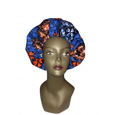 Bonnet en wax de coton bleu comme la nuit, doublé de satin