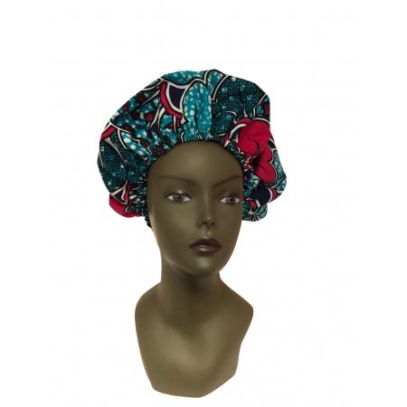 Bonnet de nuit doublé de satin vert esperance et sa touche de rouge