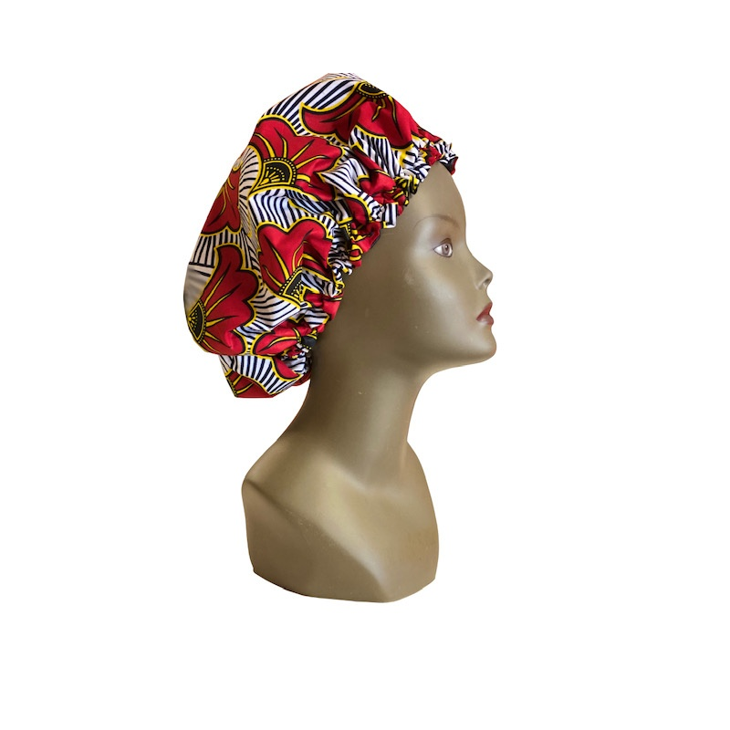 ESANCYEL COSMETICS- bonnet en wax & satin- Réglable- Fabriqué en France