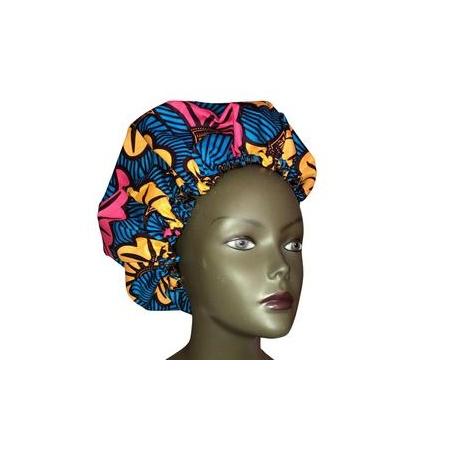 Bonnet de nuit réglable fleur bleue
