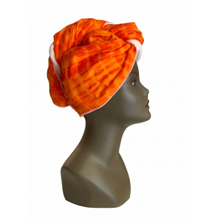 Serviette à cheveux 1 face coton Tye and Dye doublé micro fibre de Bambou