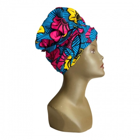 Turban en wax de coton fleuri